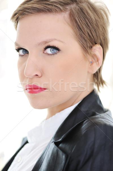 Beautiful young business woman with short hair Stock photo © zurijeta