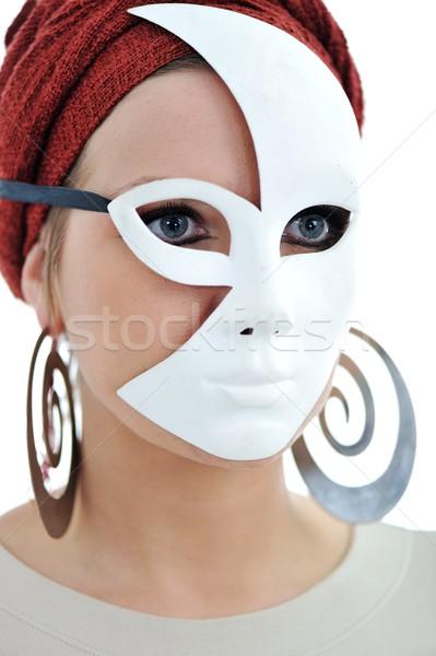 Woman with scarf and mask Stock photo © zurijeta