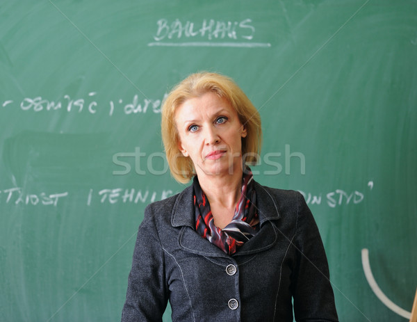 Profesor wykład stałego tablicy kobieta tle Zdjęcia stock © zurijeta