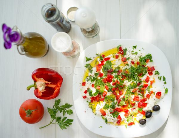 Nyár organikus konyha ételt készít zöldség hozzávalók Stock fotó © zurijeta
