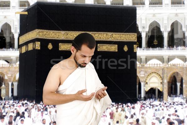 Muçulmano branco tradicional roupa peregrino homem Foto stock © zurijeta