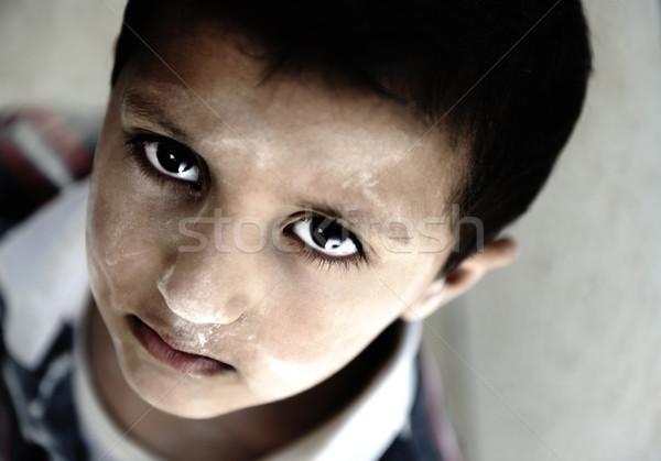 Portre yoksulluk küçük erkek üzücü gözler Stok fotoğraf © zurijeta