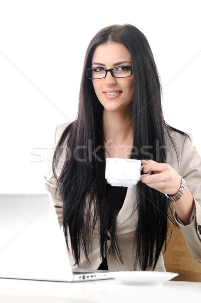 Pretty office worker have coffee break, isolated on white Stock photo © zurijeta