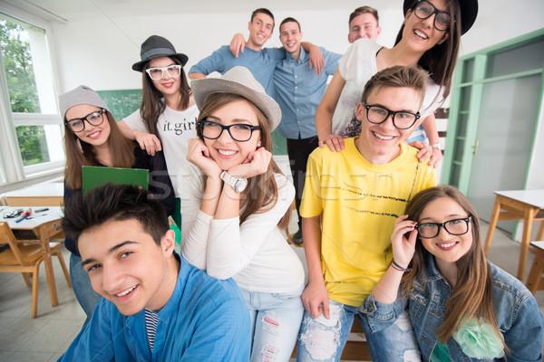 Mutlu sınıf arkadaşları grup sınıf öğrenci arka plan Stok fotoğraf © zurijeta