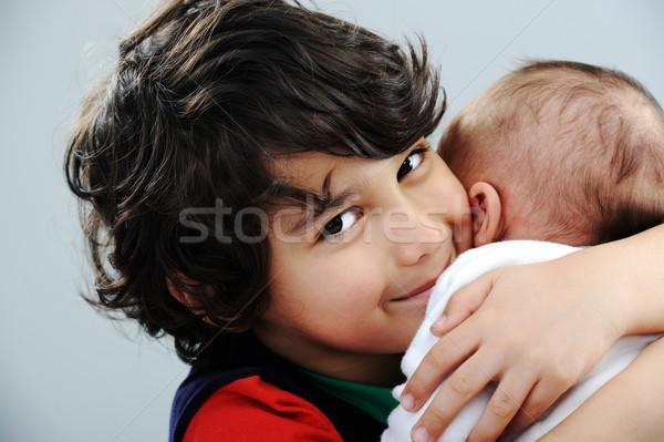 少年 演奏 新しい 赤ちゃん 弟 ストックフォト © zurijeta