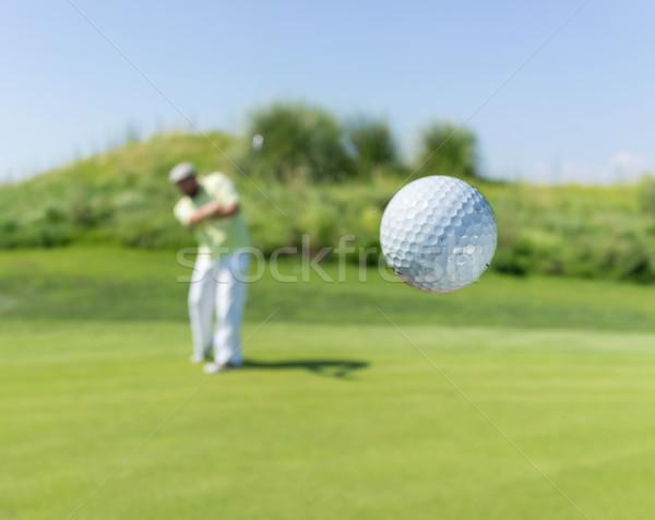 Stockfoto: Man · spelen · golf · club · natuur · zomer
