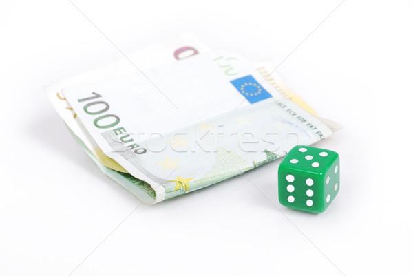 Euro currency and gamble cube isolated Stock photo © zurijeta