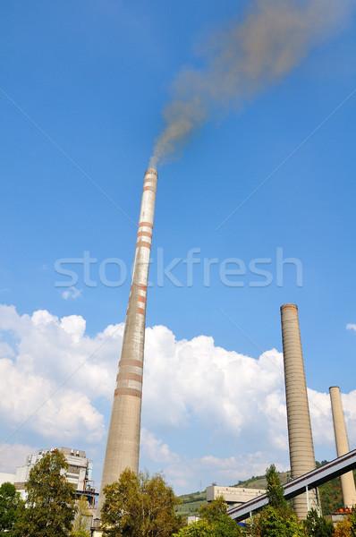 Iki sanayi duman gökyüzü teknoloji uzay Stok fotoğraf © zurijeta