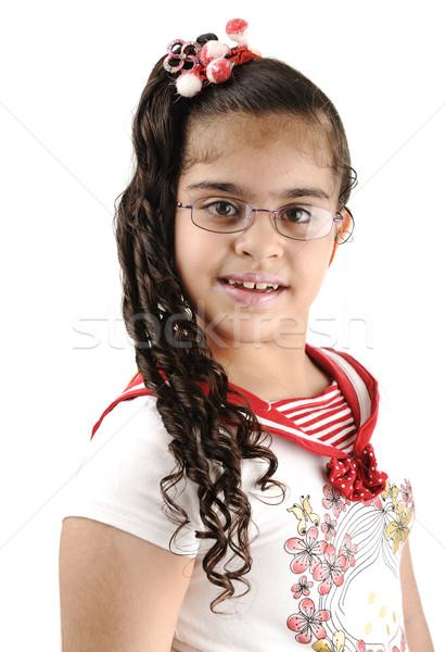 Godny podziwu cute mały uczennica portret Zdjęcia stock © zurijeta