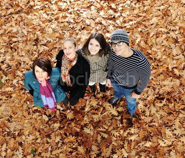 Groep vrienden park samen vrouw meisje Stockfoto © zurijeta