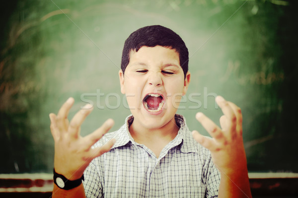 Angry and upset pupil at school classroom Stock photo © zurijeta