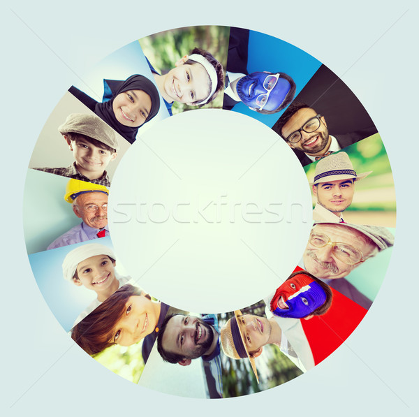 Circle of people faces Stock photo © zurijeta