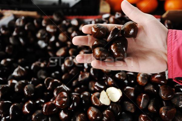 Ippocastano bazar mano frutta sfondo mercato Foto d'archivio © zurijeta