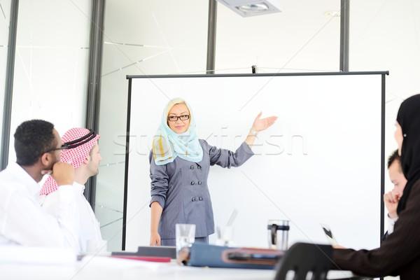 Arab közel-keleti nő üzlet bemutató copy space Stock fotó © zurijeta