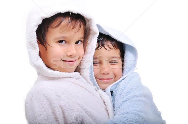 Beautiful happy childhood in robe, isolated Stock photo © zurijeta