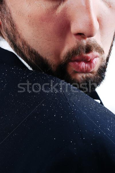Handen man medische haren portret zwarte Stockfoto © zurijeta
