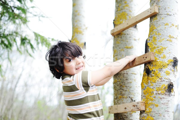 Happy kid having fun climbing on ladder in forest cabin Stock photo © zurijeta