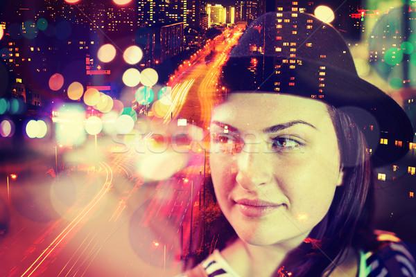 Dziewczyna noc ulicy podwoić ekspozycja niebo Zdjęcia stock © zurijeta