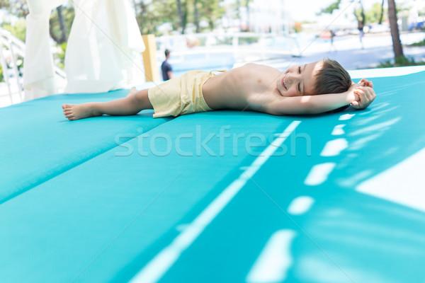 Happy little boys spending holiday vacation in beautiful resort Stock photo © zurijeta