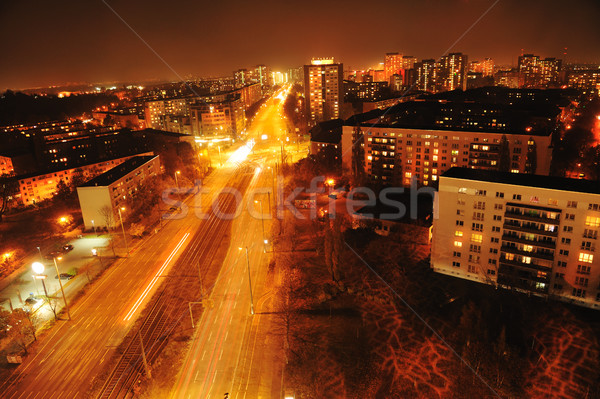 Modern Urban City at Night with Freeway Traffic Stock photo © zurijeta
