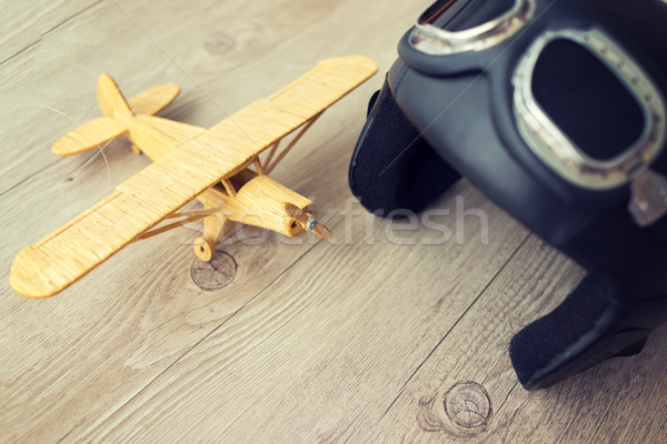 Stock photo: Toy wooden airplane