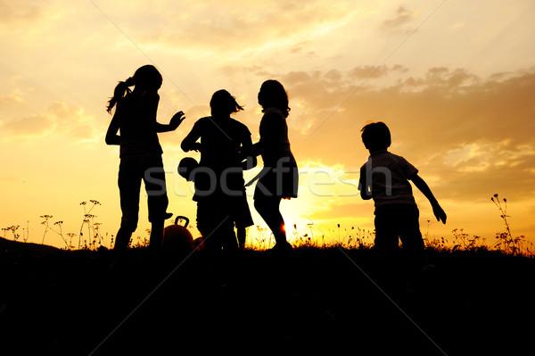 Zdjęcia stock: Sylwetka · grupy · szczęśliwy · dzieci · gry · łące