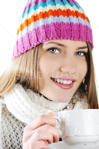 Сток-фото: счастливым · зима · красивая · девушка · питьевой · горячей · чай