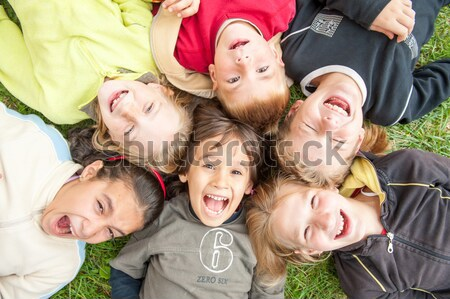 Happiness without limit, happy group of children in circle, together outdoor, faces, smiling and car Stock photo © zurijeta
