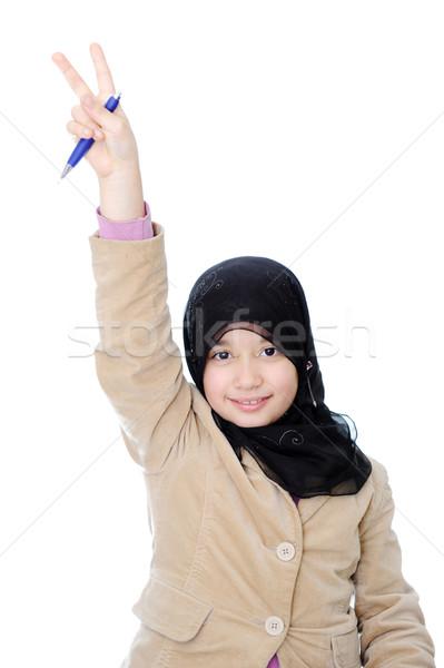 Müslüman öğrenci kız el mutlu öğrenci Stok fotoğraf © zurijeta