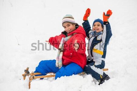Grup çocuklar mutlulukla oynama kar kış Stok fotoğraf © zurijeta