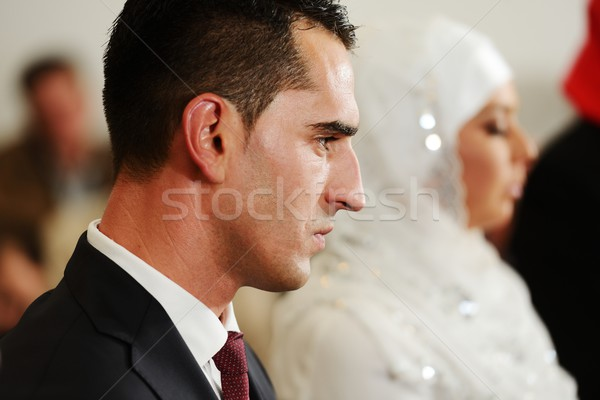 Muslim bride and groom at the mosque during a wedding ceremony Stock photo © zurijeta