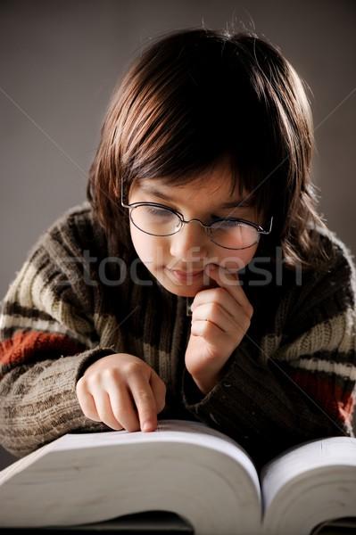 肖像 かわいい 少年 レトロスタイル 読む ストックフォト © zurijeta