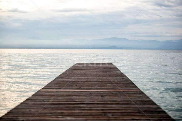 заброшенный морем док рассвета воды Сток-фото © zurijeta