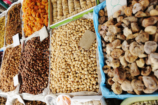 Dried fruits on market place, piazza, bazaar Stock photo © zurijeta
