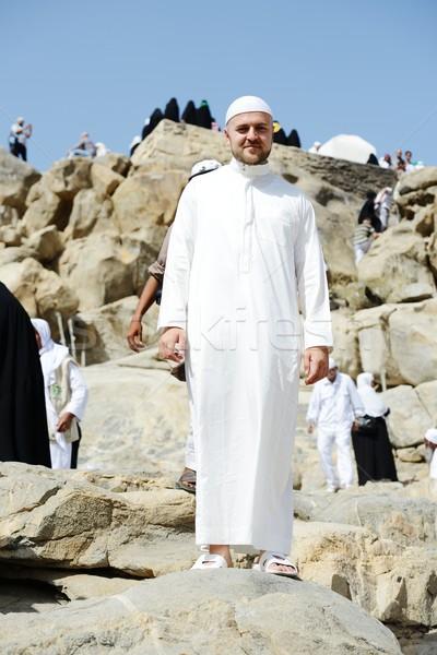 Stock fotó: Haddzs · muszlim · kéz · portré · ima · egyedül