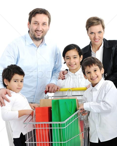 Photo stock: Famille · heureuse · panier · famille · fille · alimentaire · heureux