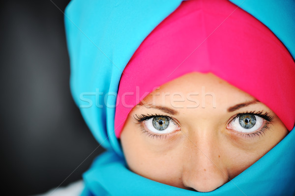 Fashion blue and pink hijab Stock photo © zurijeta