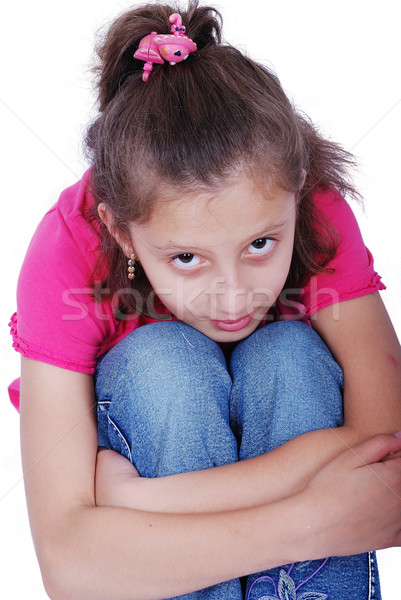 Litlle cute girl on ground with emotional expression  Stock photo © zurijeta