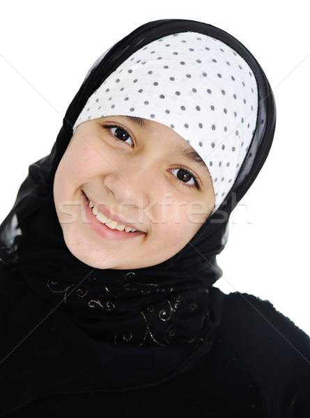 Genç kız başörtüsü kız yüz gözler saç Stok fotoğraf © zurijeta