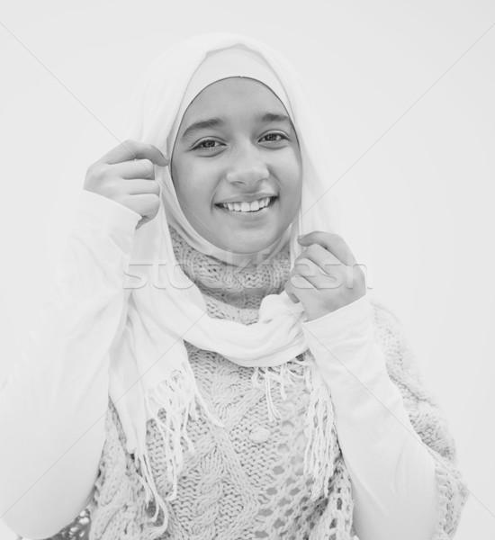 Portret świeże piękna arabski dziewczyna hidżab Zdjęcia stock © zurijeta