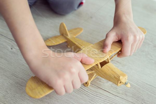 Stok fotoğraf: Ahşap · oyuncak · uçak · gökyüzü · çocuklar · çocuk · düzlem
