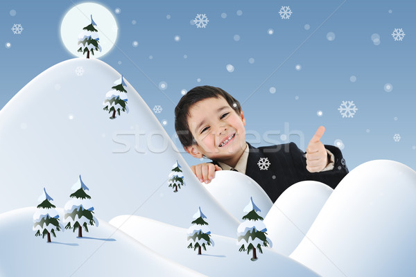 Stock photo: Conceptual photo combined with illustration. New year, winter and snow, child and happiness for your