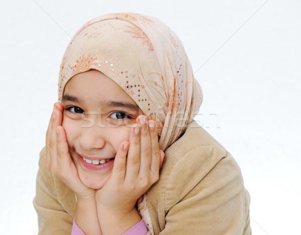 Muzułmanin dziewczyna ściany oczy dziecko student Zdjęcia stock © zurijeta