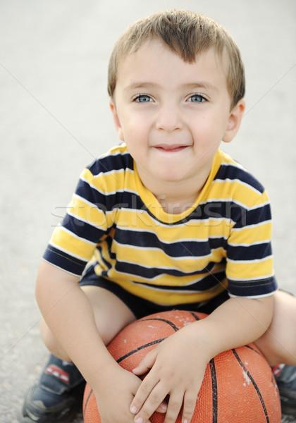 adorable child holding  the basketball  Stock photo © zurijeta