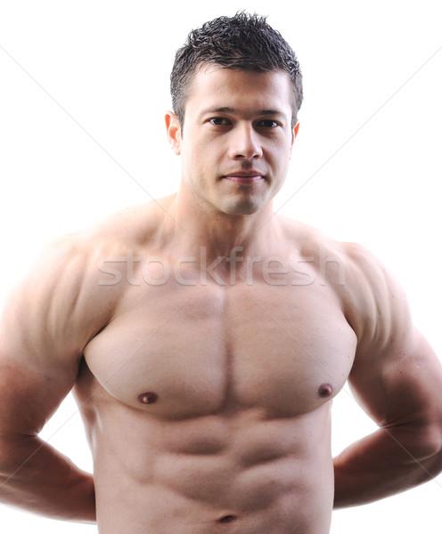 Perfeito masculino corpo incrível musculação posando Foto stock © zurijeta