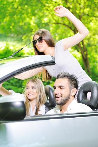 Három barátok sportautó autó út nők Stock fotó © zurijeta