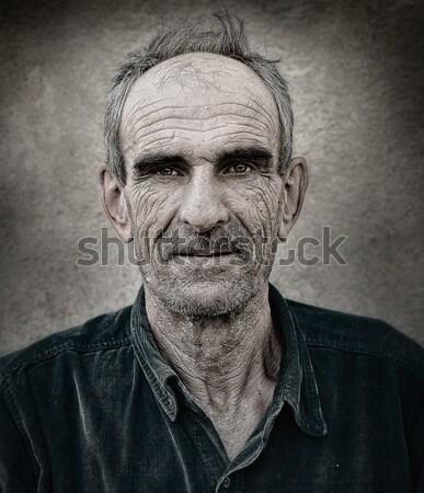 Artistic old photo of elderly bald man, grunge vintage backgroun Stock photo © zurijeta