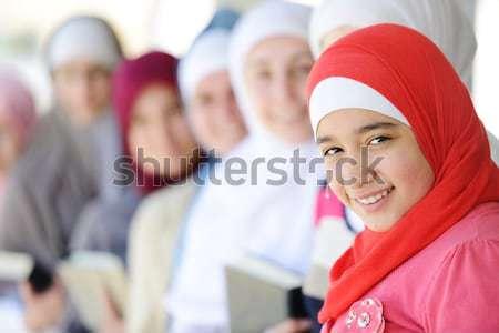 Arabic Middle eastern teenage girl traveling, airport transit Stock photo © zurijeta