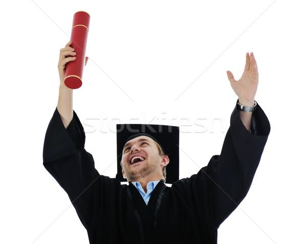 Jonge afgestudeerde student diploma geïsoleerd Stockfoto © zurijeta
