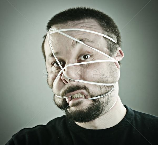 Portre adam yüz çılgın bant stüdyo Stok fotoğraf © zurijeta